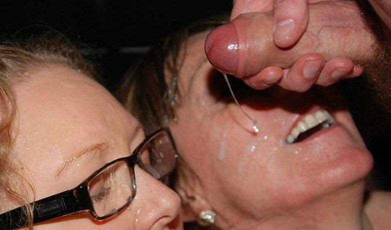two cum soaked milf get an amateur facial on british bukkake